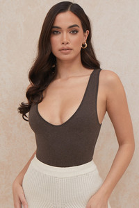 Karisa Brown V-Neck Bodysuit