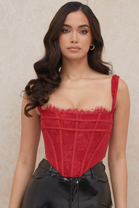 Leilani Red Lace Corset Top