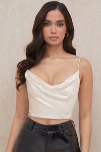 Marlene Ivory Draped Satin Corset Top
