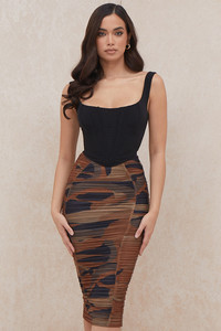 Brooke Brown Print Ruched Midi Skirt