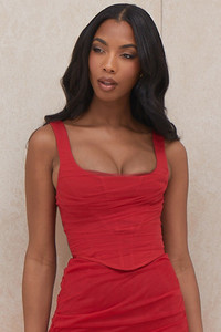 Shelley Red Tulle Corset Top