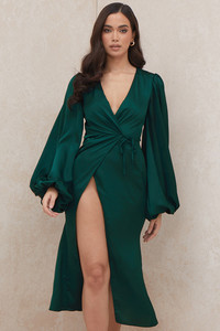 Shiloh Emerald Green Wrap Dress
