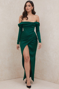Sienna Emerald Green Satin Draped Strapless Gown