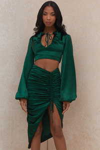 Petronella Emerald Green Satin Gathered Skirt