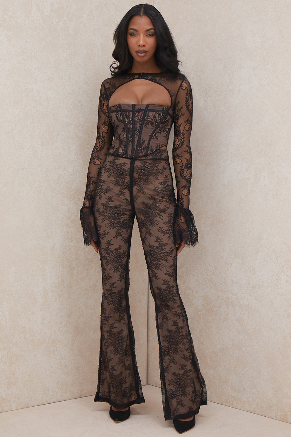 Ivy Black Lace High Waist Trousers