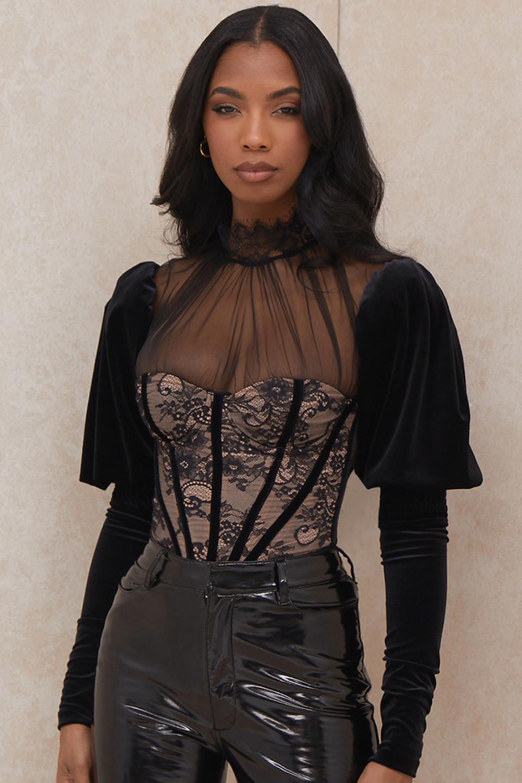 Athenea Black Lace Bodysuit