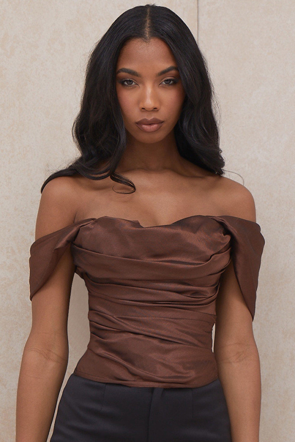 Ayelen Brown Taffeta Off Shoulder Draped Corset