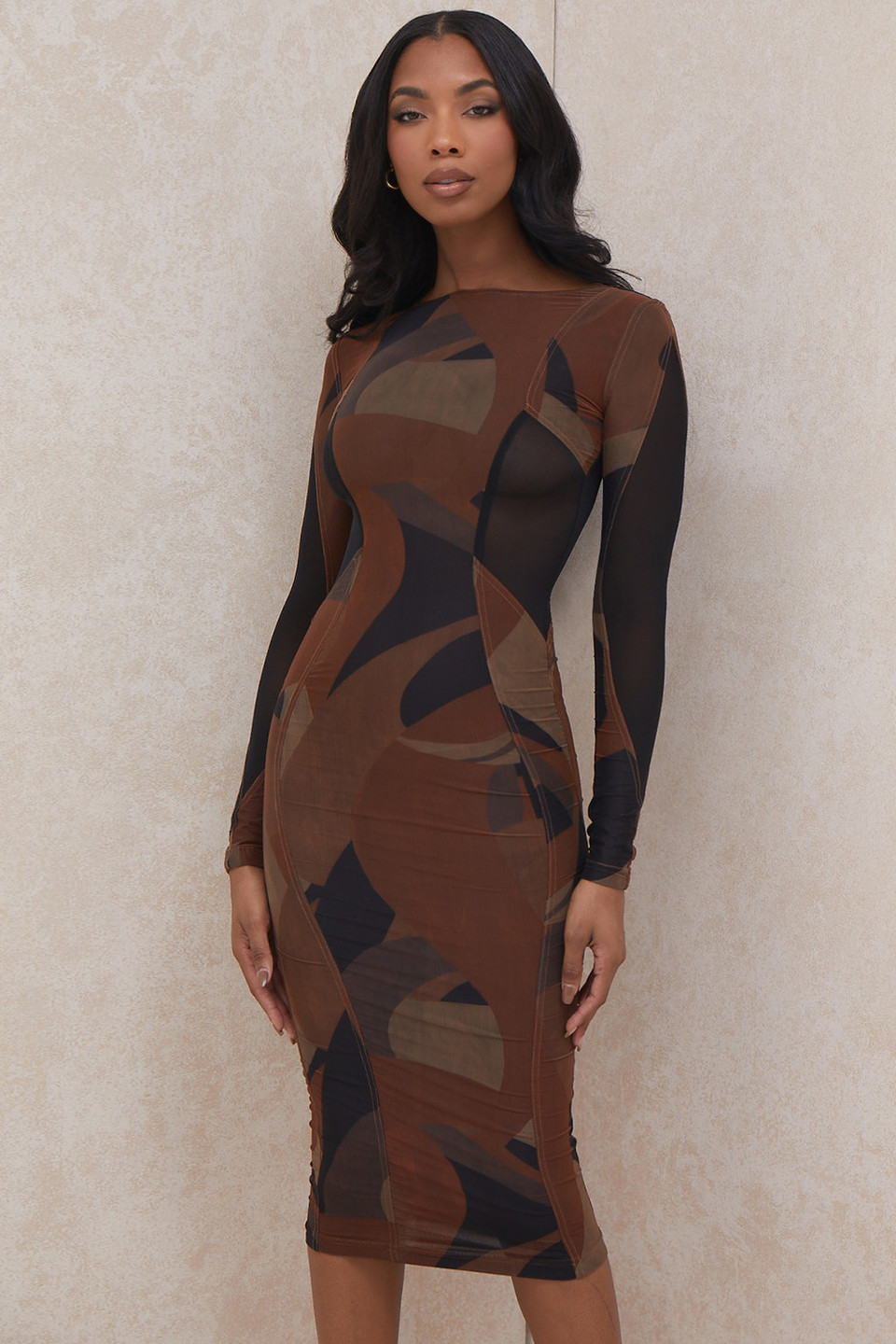 Cassidy Brown Print Midi Dress