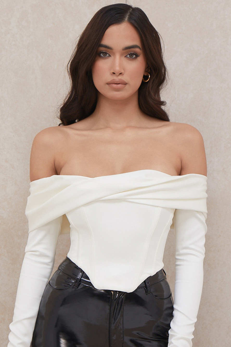Evita Ivory Satin Off Shoulder Draped Corset