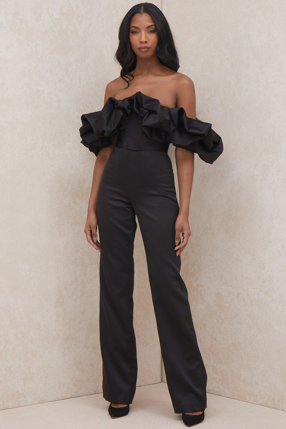 Georgia Black Satin Strapless Ruffle Jumpsuit