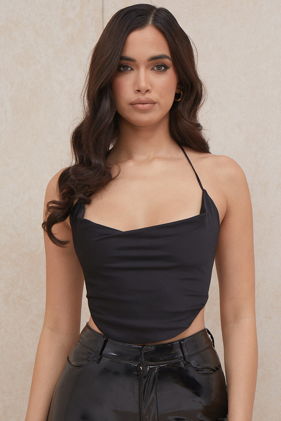 Hazel Black Satin Tie Back Crop Top