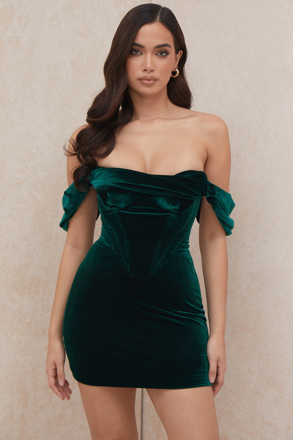 Jolanda Emerald Green Off Shoulder Mini Dress