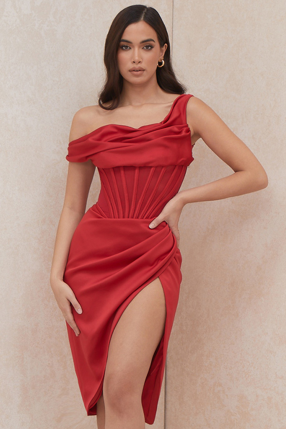 Lulu Red Asymmetric Drape Midi Corset Dress