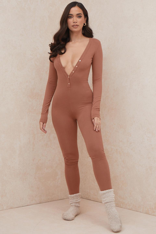 Norah Camel Jersey Jumpsuit
