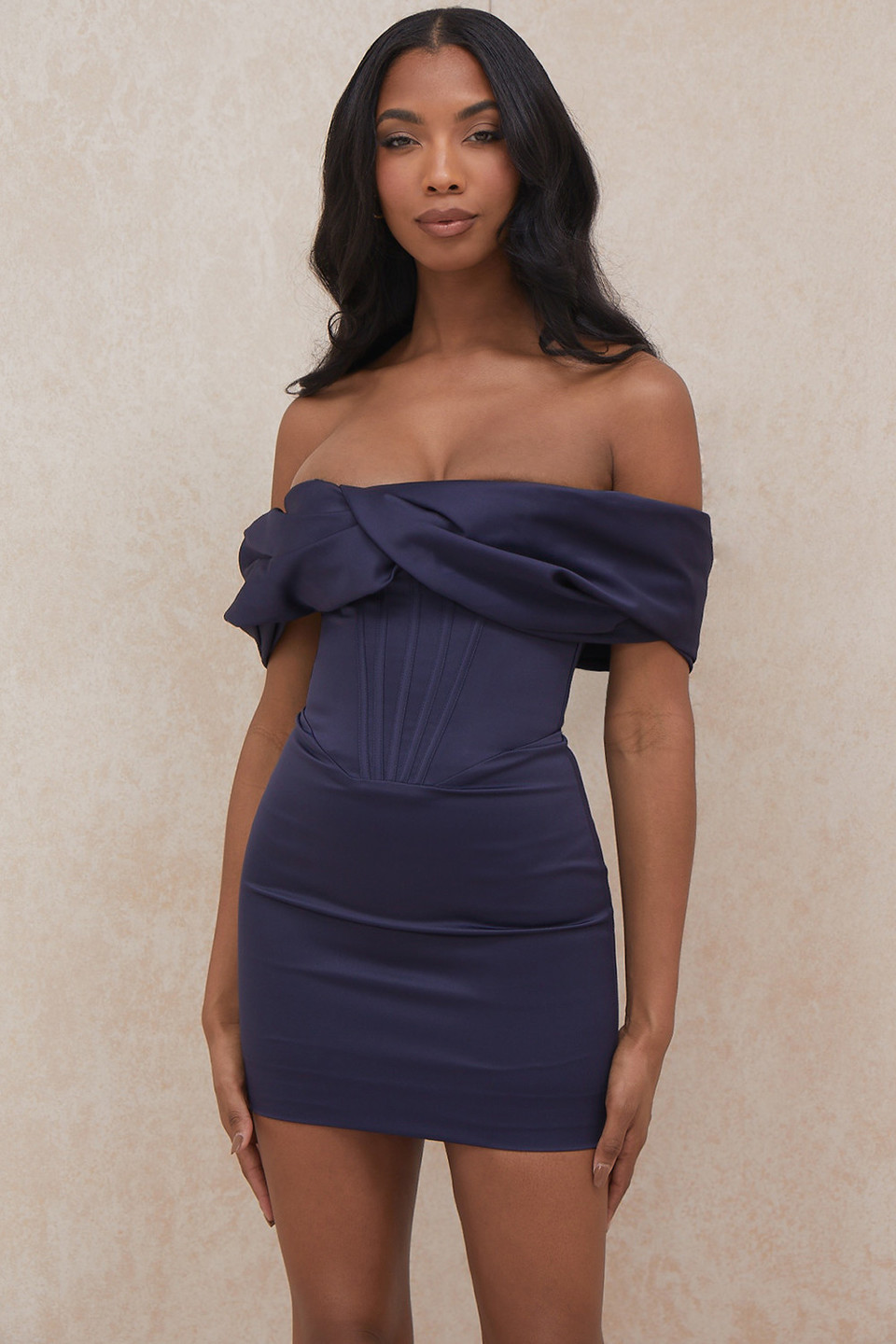 Nurul Navy Satin Draped Strapless Dress