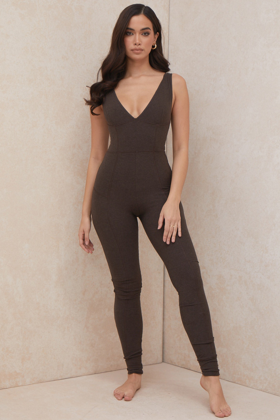 Rissa Brown V-Neck Waist Cinching Jumpsuit