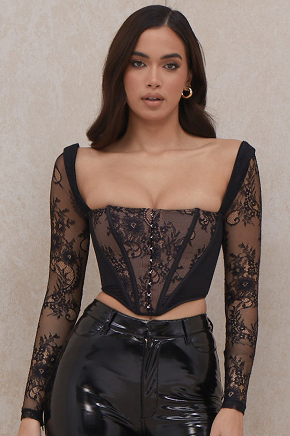 Serenity Black Lace Corset Top