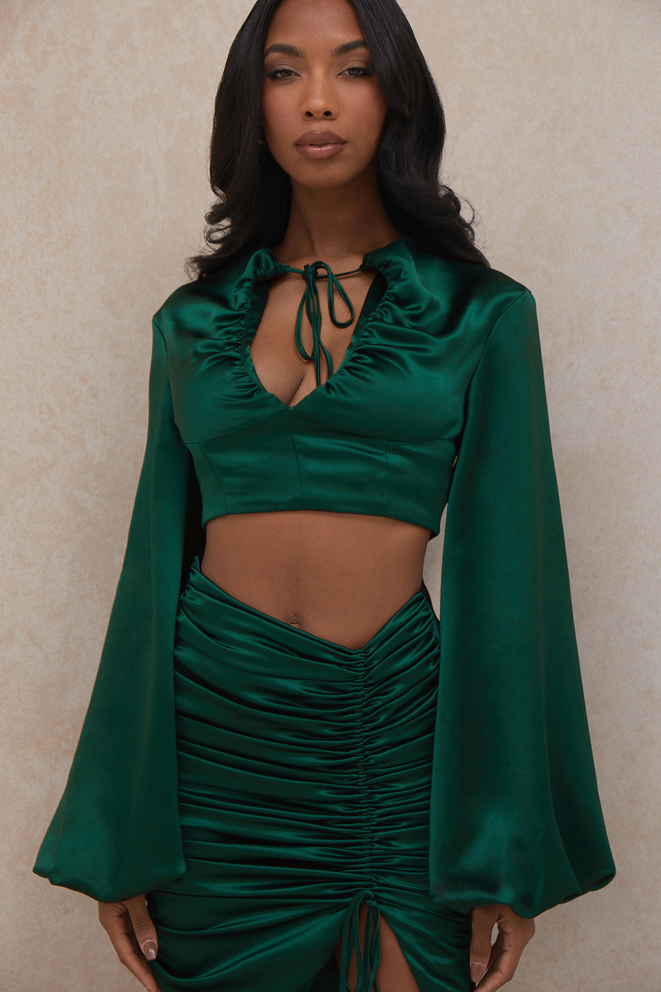 Vandra Emerald Green Satin Balloon Sleeve Top