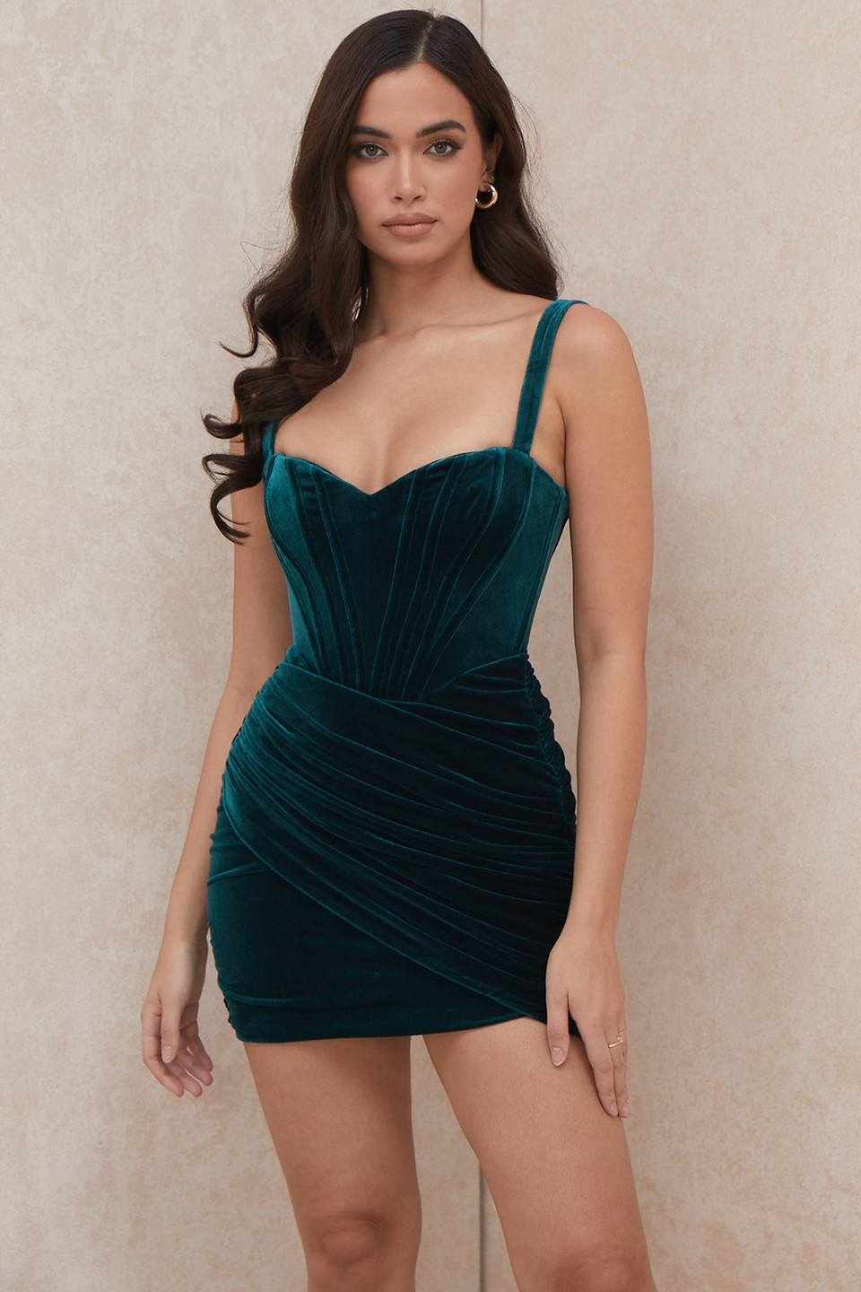 Yaz Emerald Green Velvet Corset Dress