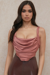Aella Rose Satin Cowl Neck Draped Corset