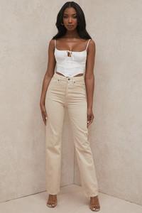 Yara Beige Vintage Fit High Waist Jeans