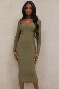 Katalina Olive Sweetheart Neckline Bandage Dress
