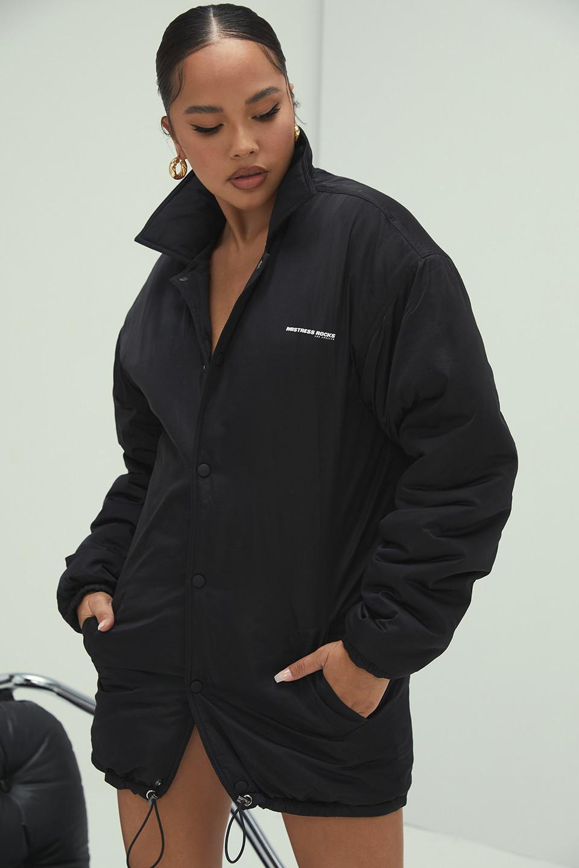 Embrace Black Silky Tech Puffa Jacket