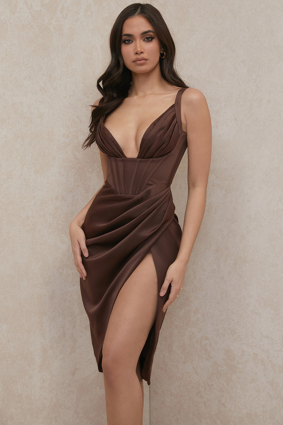 Faye Chocolate Satin Pleated Midi Dress