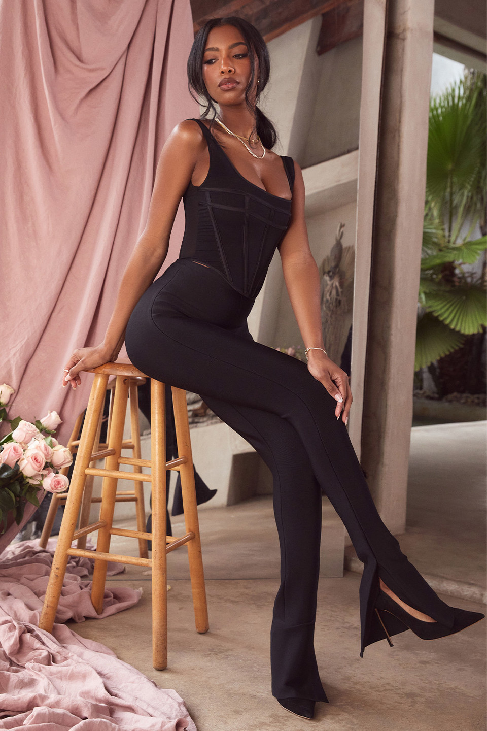 Gloriette Black High Waisted Bandage Trousers