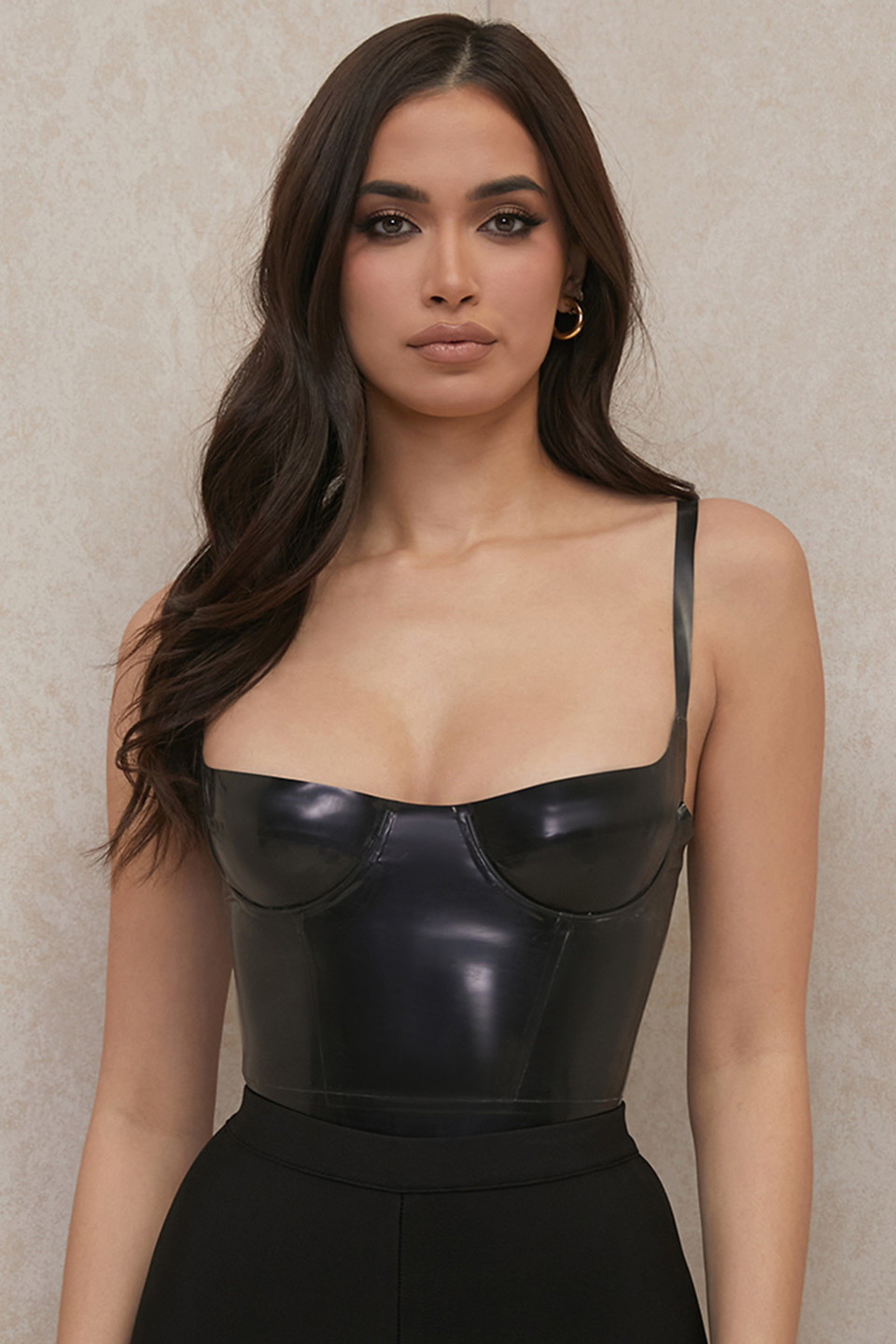 Tia Black Latex Bustier Bodysuit