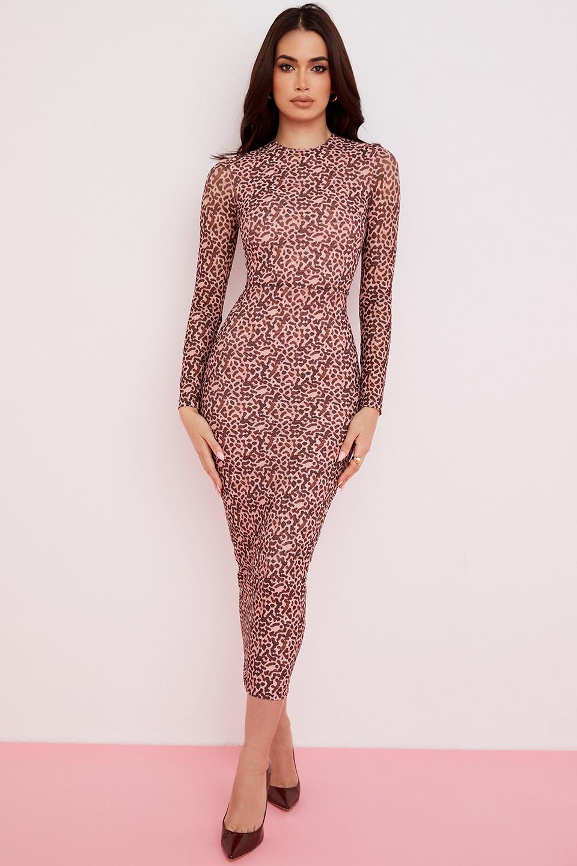 Hailey Animal Print Fitted Midi Dress