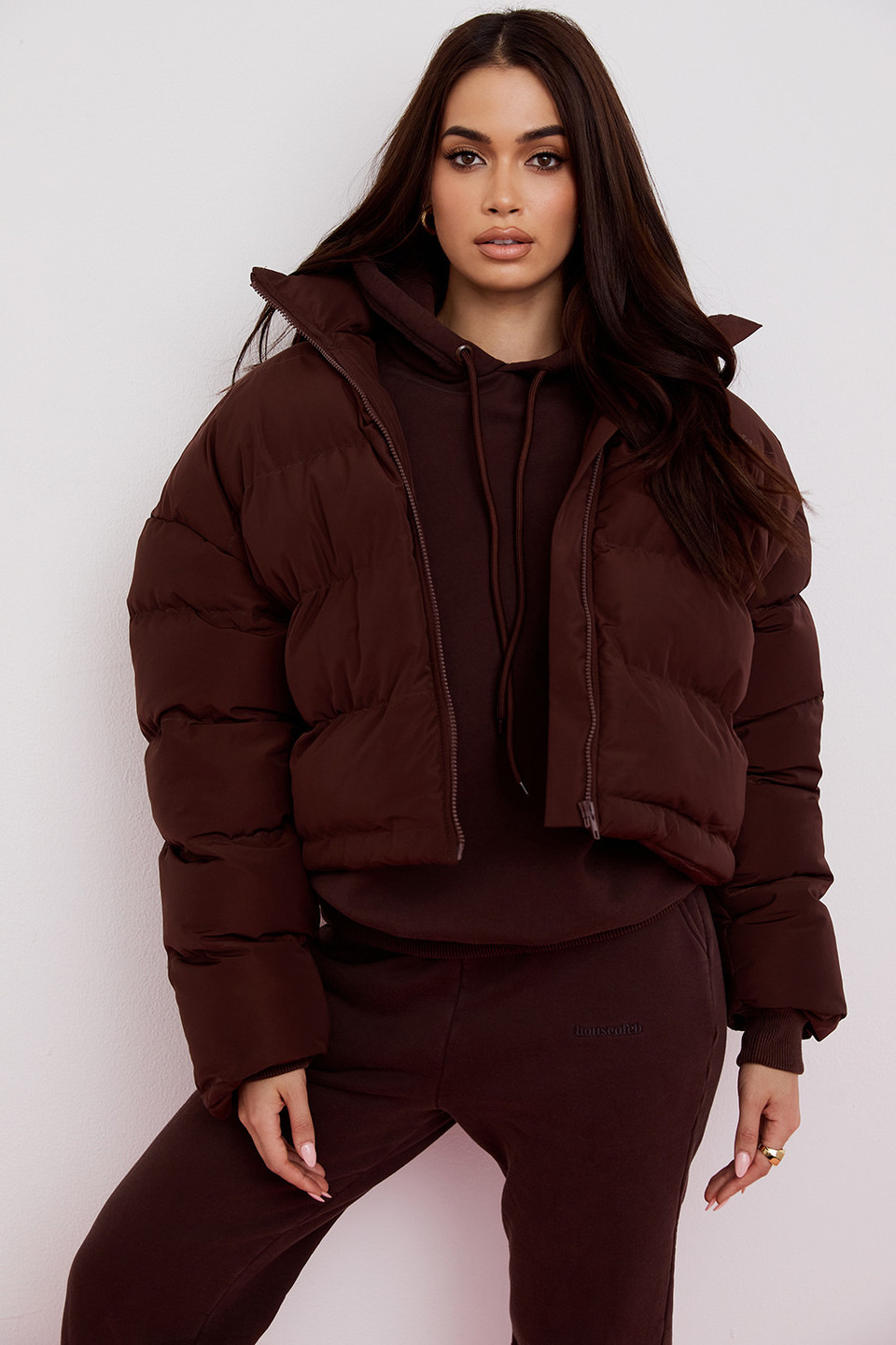 Hero Chocolate Oversized C Shape Puffer Jacket