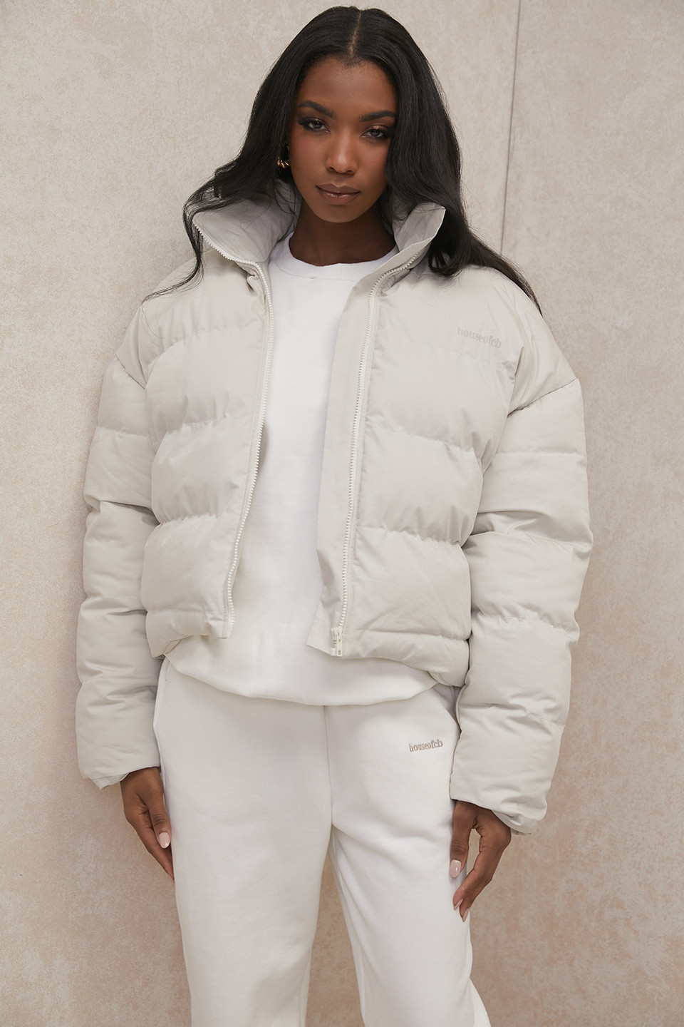 Hero Ivory Oversized C Shape Puffer Jacket