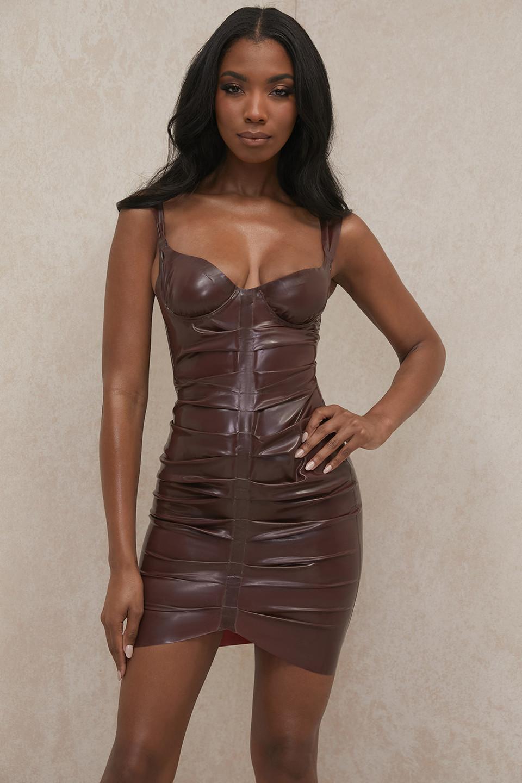 Larena Chocolate Latex Bustier Dress