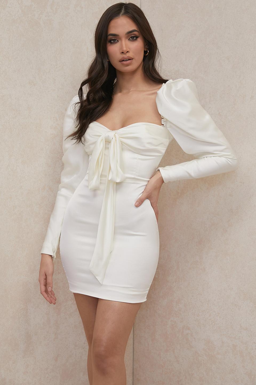 Maia Ivory Satin Puff Sleeve Mini Dress