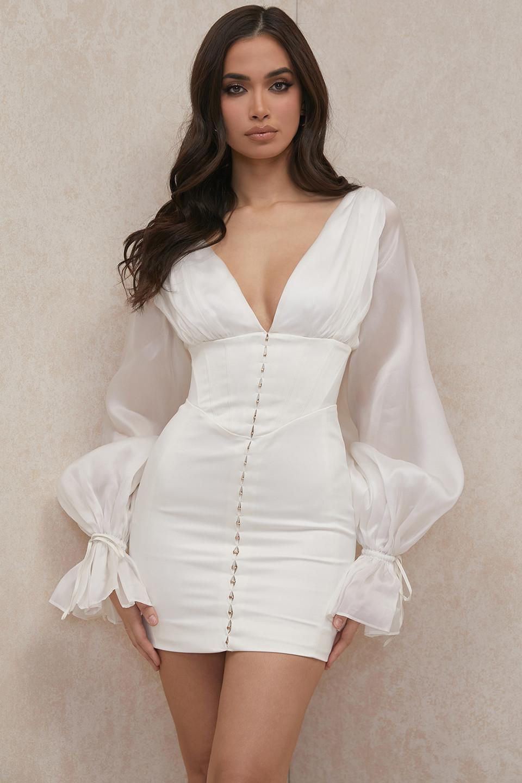 Matilda Ivory Satin Corset Mini Dress