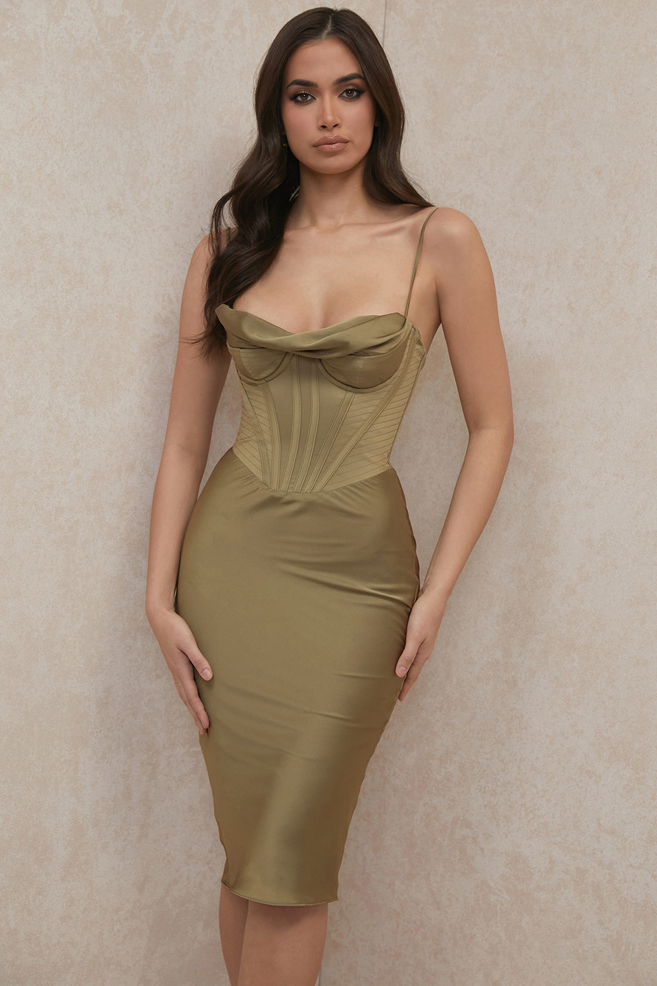 Myrna Olive Cowl Neck Slip Dress