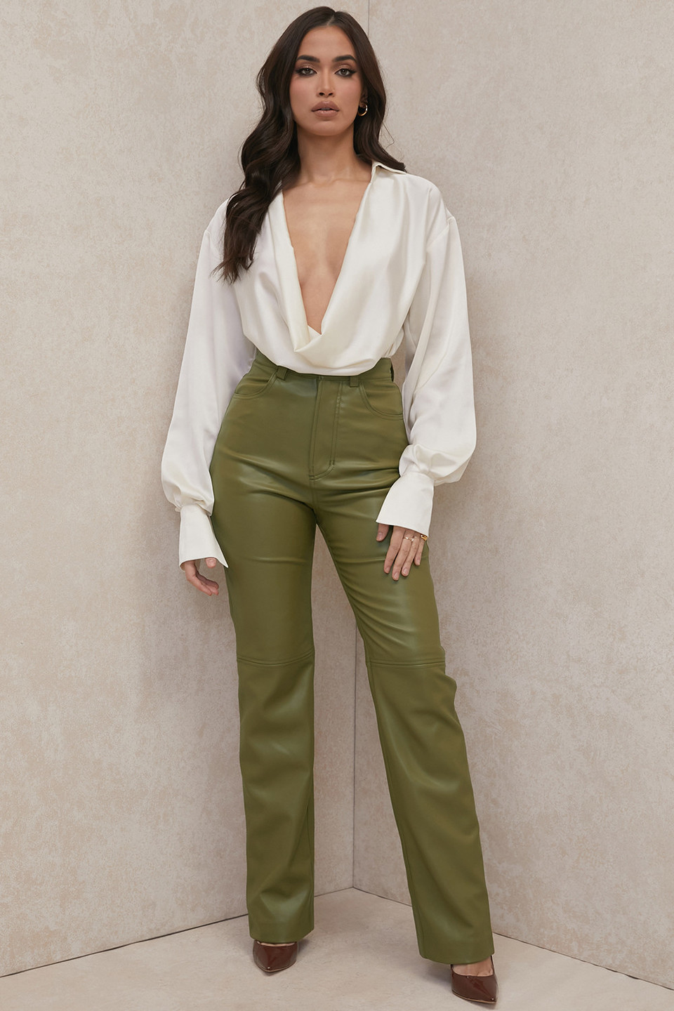 Inaya Olive Stretch Vegan Leather Trousers