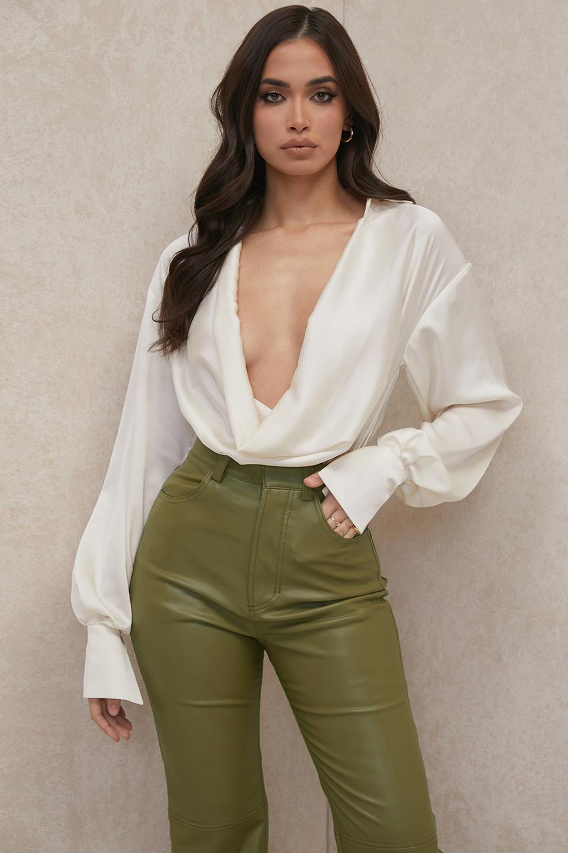 Rhea Ivory Satin Cowl Front Draped Bodysuit