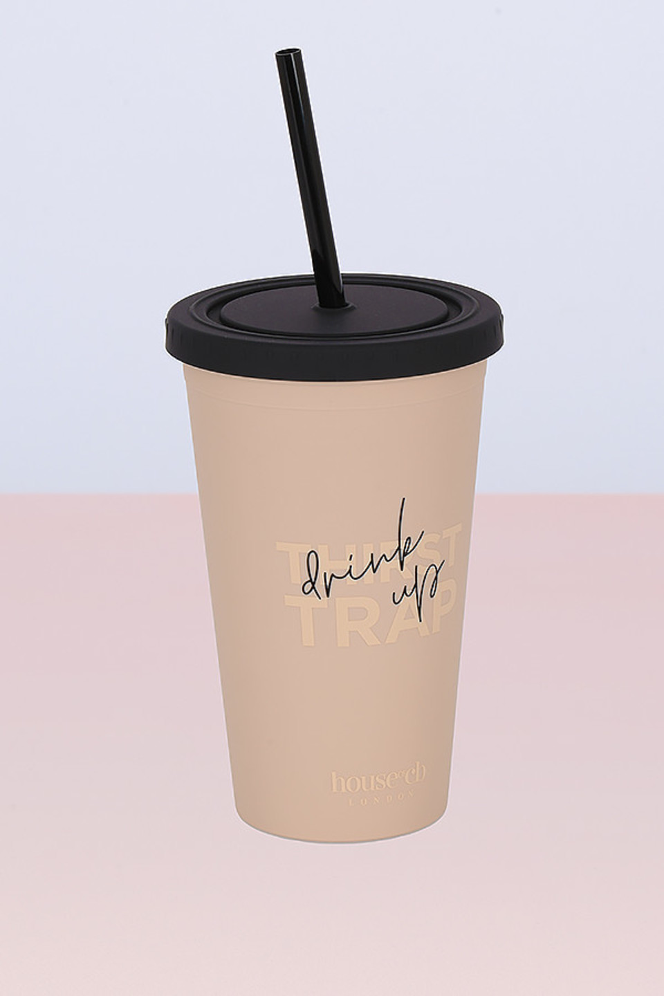 Beige & Black Insulated Cup with Straw