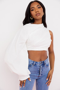 Arta White pleated Cropped Blouse