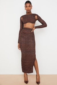 Laverne Chocolate Print Ruched Maxi Skirt