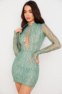 Dylan Green Colour Ivy Printed Mesh Lace Up Mini Dress