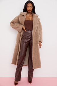 Haze Taupe Maxi Teddy Coat