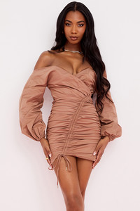 Indra Mocha Off The Shoulder Wrap Mini Dress