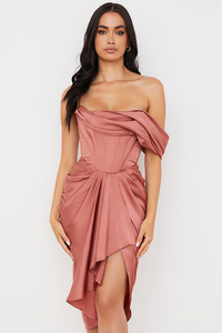 Janis Rouge Satin One Shoulder Draped Midi Dress