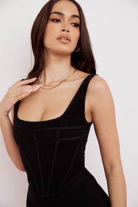 Mabel Black Mesh Corset Top