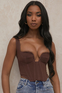 Mae Dark Brown Plunge Corset Top