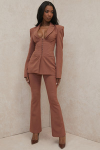 Noelani Mocha Linen Tailored Flare Trousers