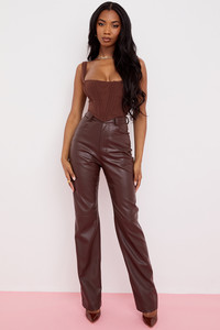 Inaya Dark Brown Stretch Vegan Leather Trousers